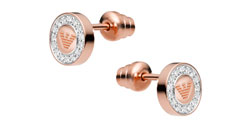 Emporio Armani Rose Gold Tone Crystal Stud Earrings
