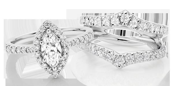 Platinum Diamond Marquise & Silhouette Ring