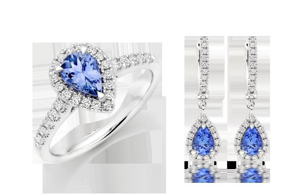 18ct White Gold Diamond Tanzanite Halo Earrings & Ring