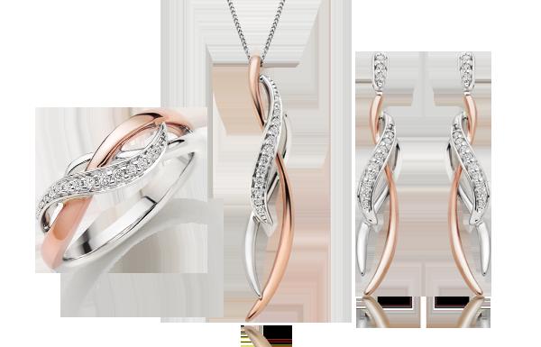 Beaverbrooks Era Twist 9ct White and Rose Gold Diamond Earrings, Pendant & Ring