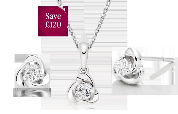9ct White Gold Diamond Pendant and Earrings Set
