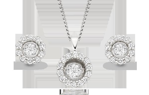 Dance 9ct White Gold Diamond Earrings & Pendant
