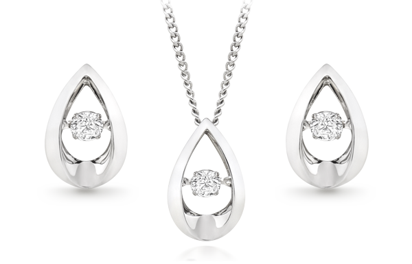 Dance by Beaverbrooks 9ct White Gold Diamond Pendant and Earrings Set