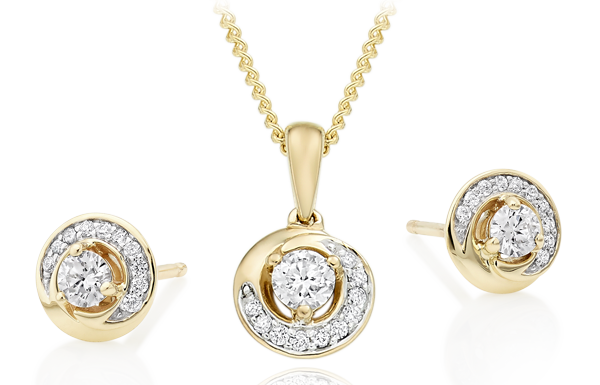 9ct Gold Diamond Swirl Earrings & Pendant