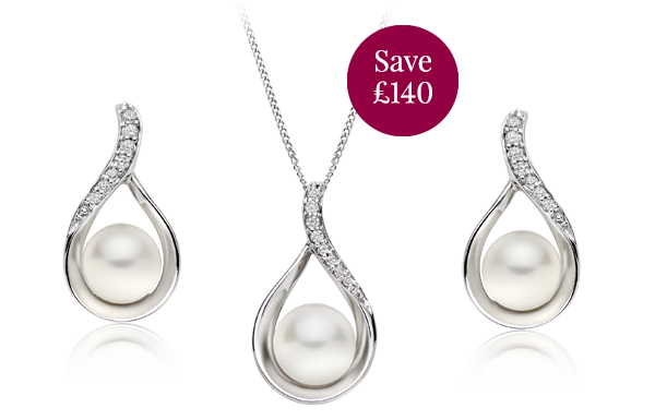 9ct White Gold Gold Diamond Freshwater Cultured Pearl Pendant and Earrings Set