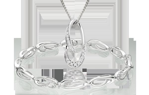 9ct White Gold Diamond Bracelet & Pendant