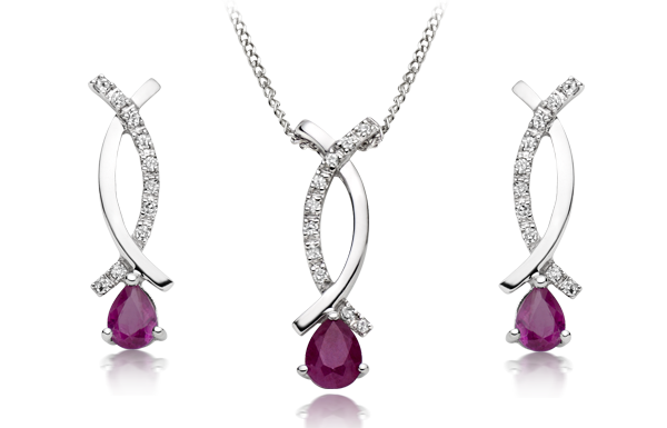 9ct White Gold Diamond and Ruby Earrings & Pendant
