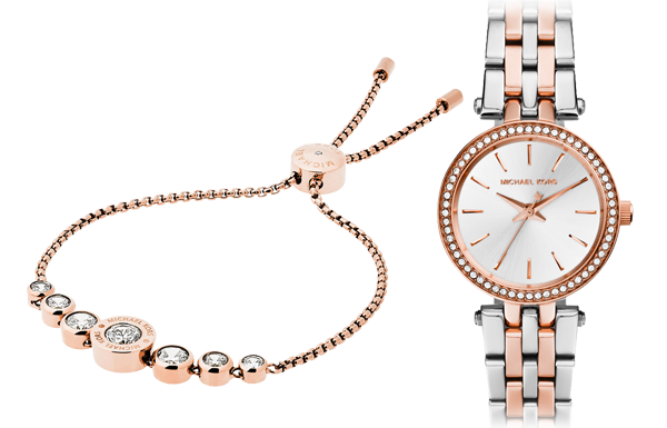 Michael Kors Rose Gold Tone Bracelet & Watch