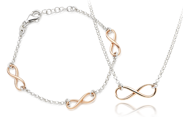 Silver Rose Gold Plated Infinity Necklace and Bracelet Set