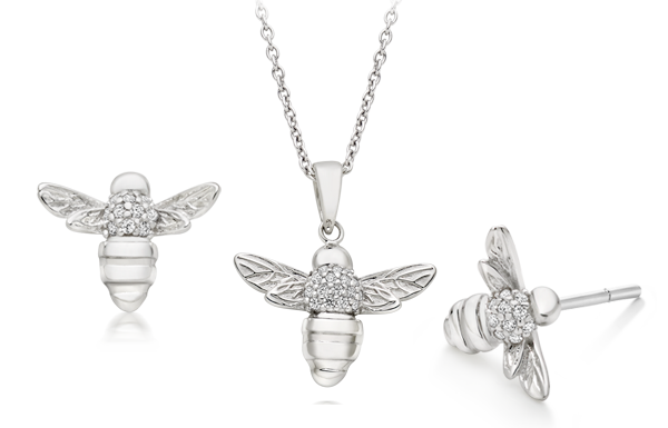Summer Paradise Silver Cubic Zirconia Bee Pendant & Earrings