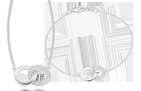 Silver Cubic Zirconia Double Circle Bracelet & Pendant