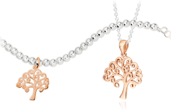 Silver and Rose Gold Plated Tree Bracelet & Pendant
