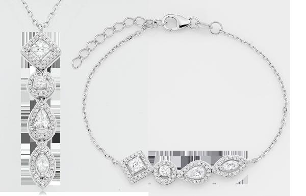 Silver Cubic Zirconia Halo Bracelet & Pendant