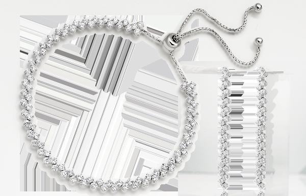 Silver Cubic Zirconia Bracelet & Earrings