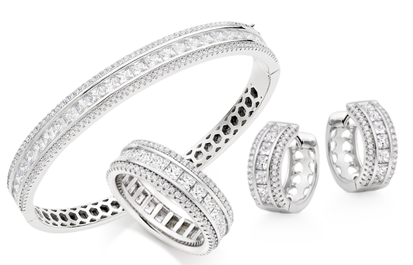 Silver Cubic Zirconia Triple Row Jewellery