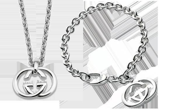 Gucci Britt Silver Double G Bracelet & Pendant