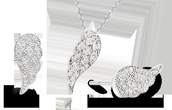 Silver Cubic Zirconia Angel Wing Pendant & Earrings