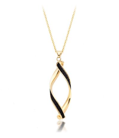 9ct Gold Black Glitter Twist Pendant