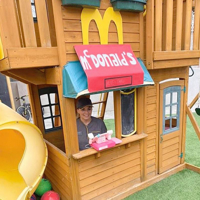 Mum recreates McDonald's drive thru for her daughters birthday