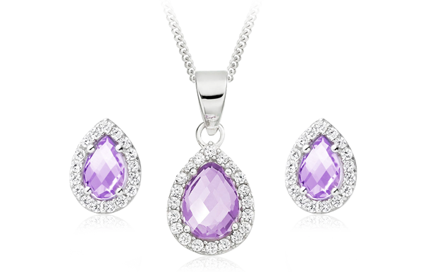 9ct White Gold Diamond and Amethyst Pendant and earrings Set