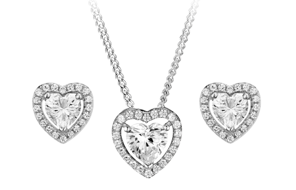 Silver Cubic Zirconia Heart Pendant and Stud Earrings Set
