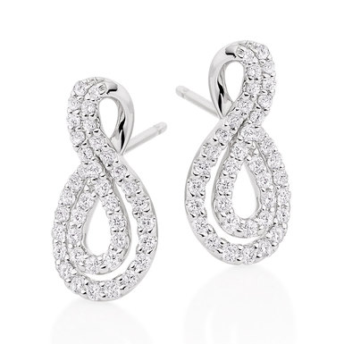 9ct White Gold Diamond Infinity Earrings