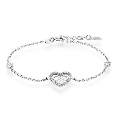 Silver Cubic Zirconia Infinity Heart Bracelet