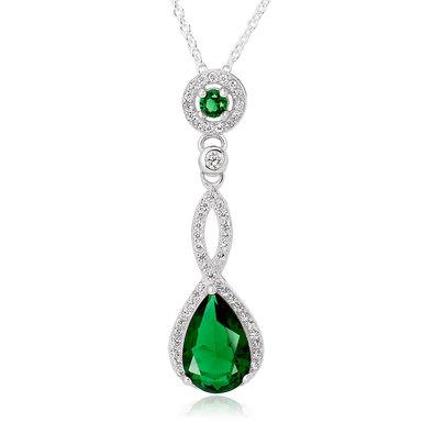 Silver Green Cubic Zirconia Pendant