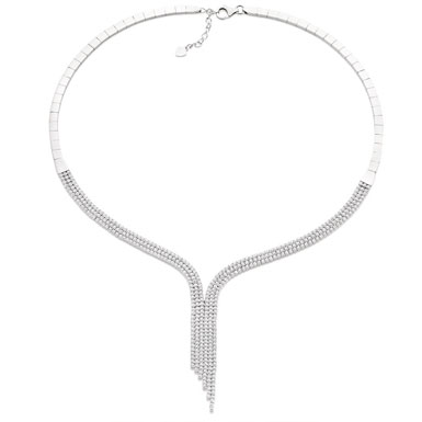 Silver Cubic Zirconia Wave Necklace