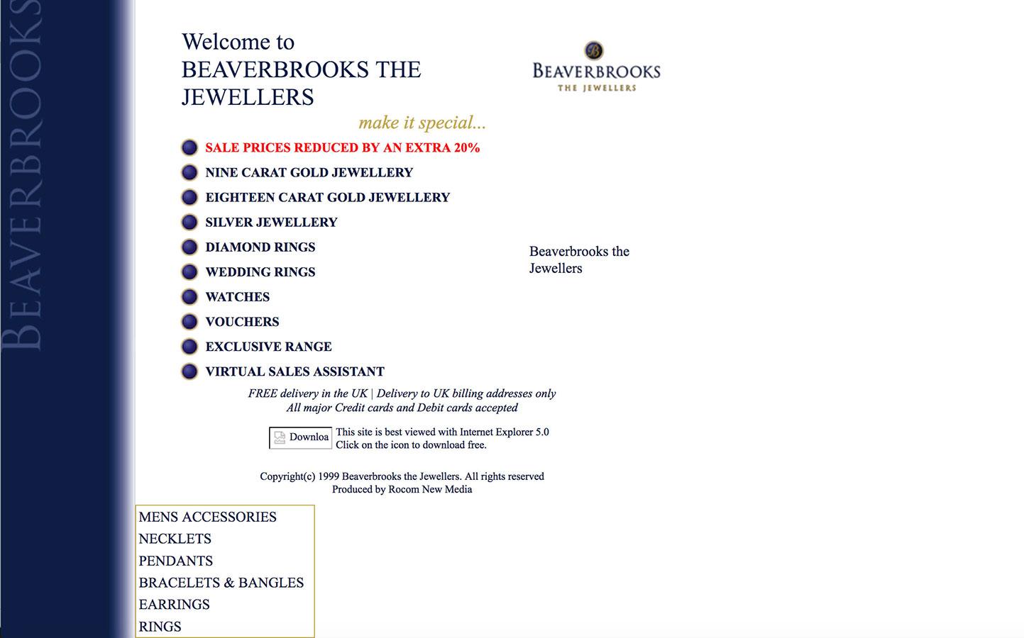 Beaverbrooks Website 2001