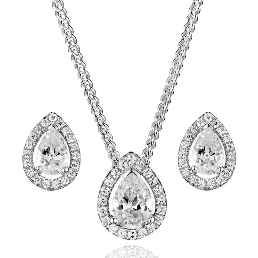 Silver Cubic Zirconia Pear Shaped Halo Pendant and Earrings Set