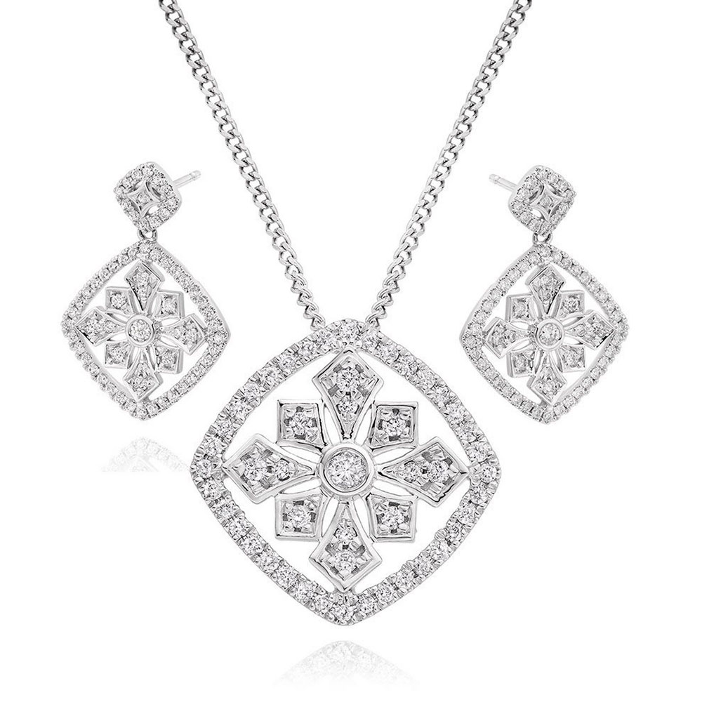 9ct White Gold Diamond Cluster Pendant and Earrings Set