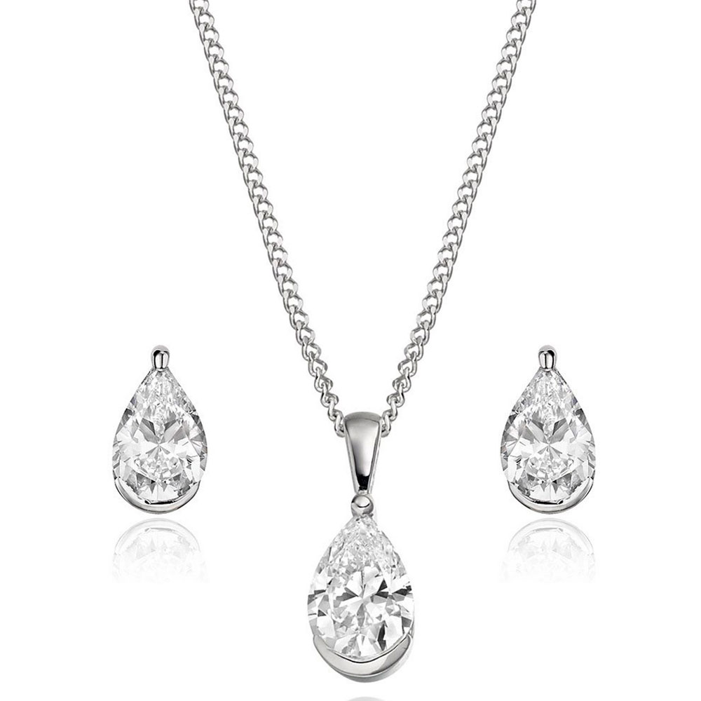 9ct White Gold Cubic Zirconia Pear Shaped Pendant and Earrings Set