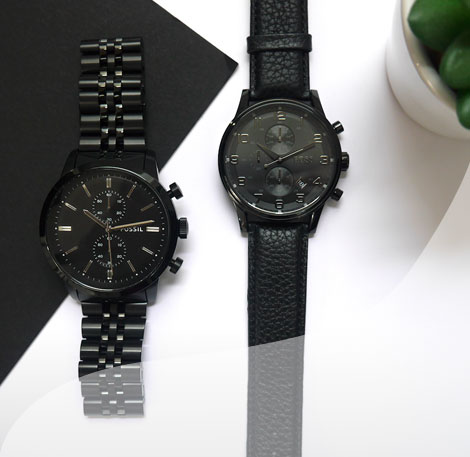 Black Fossil and Hugo Boss Watches