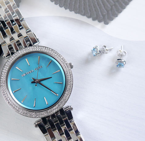 Gemstone Earrings and Michael Kors Watch