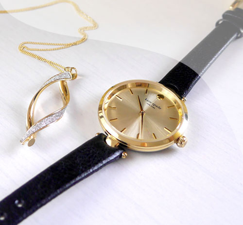 Gold Necklace and Kate Spade Watch