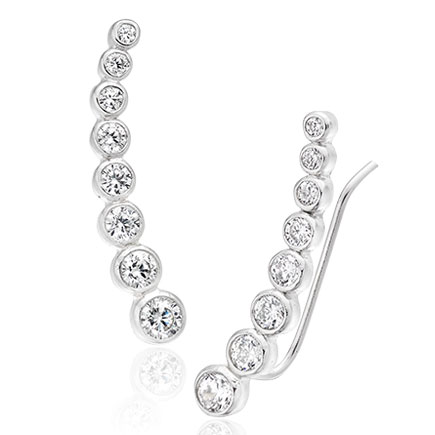 Silver Cubic Zirconia Climber Earrings
