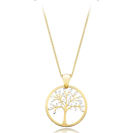 9ct Gold and White Gold Tree Pendant