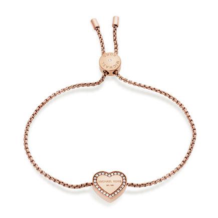 Michael Kors Rose Gold Tone Cubic Zirconia Heart Bracelet