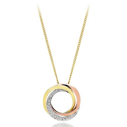 9ct Gold, Rose Gold and White Gold Diamond Circle Pendant
