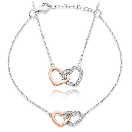Silver Rose Gold Plated Cubic Zirconia Heart Necklace and Bracelet Set