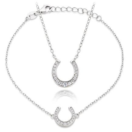 Silver Cubic Zirconia Horseshoe Necklace and Bracelet set