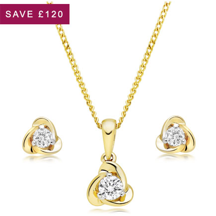 9ct Gold Diamond Pendant and Earrings Set