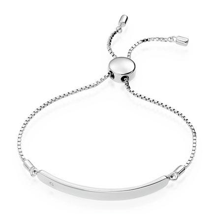 Mini B Silver Diamond ID Bracelet