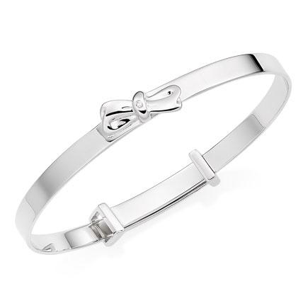 Mini B Silver Diamond Bow Bangle