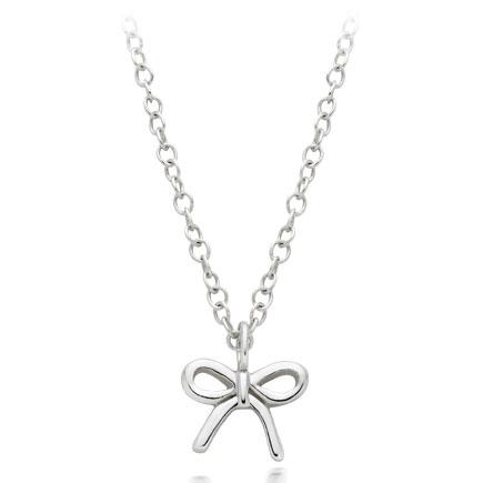Mini B Silver Bow Pendant