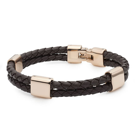 Rose Gold Plated Stainless Steel and Brown Leather Men's Bracelet