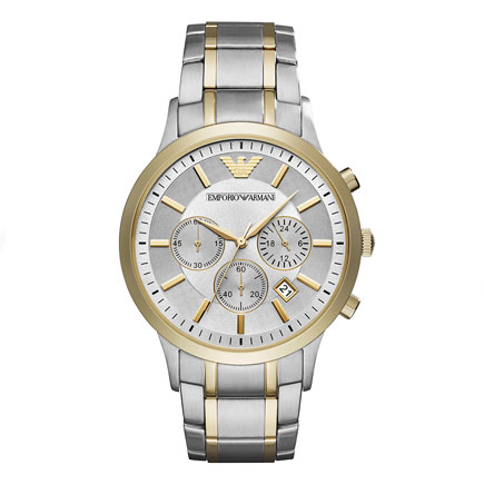 Emporio Armani Gold Tone and Stainless Steel Chronograph Men's Watch