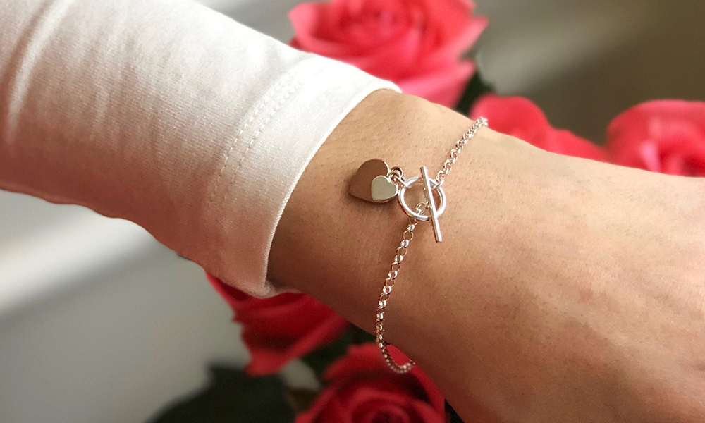Silver Rose Gold Plated Double Heart T-Bar Bracelet
