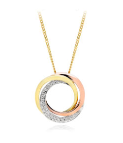 9ct Gold, Rose Gold and White Gold Diamond Pendant